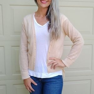 anthropologie MOTH pale peach mohair cardigan S M